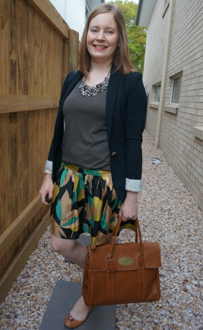 leaf print silk skirt with olive slouchy tee jersey blazer summer office outfit with Mulberry bayswater | awayfromblue