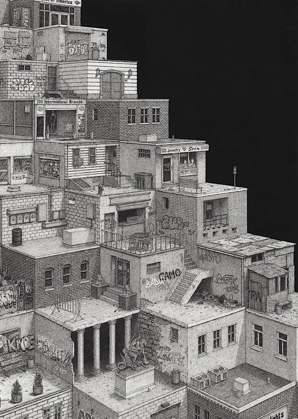 Ben Tolman art, urban buildings