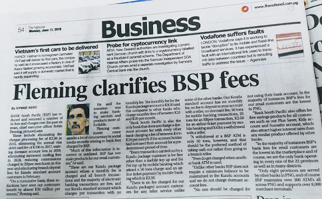 BSP BANK FEES