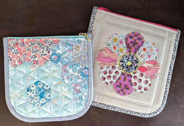 zipper pouches with curved edges epp and applique
