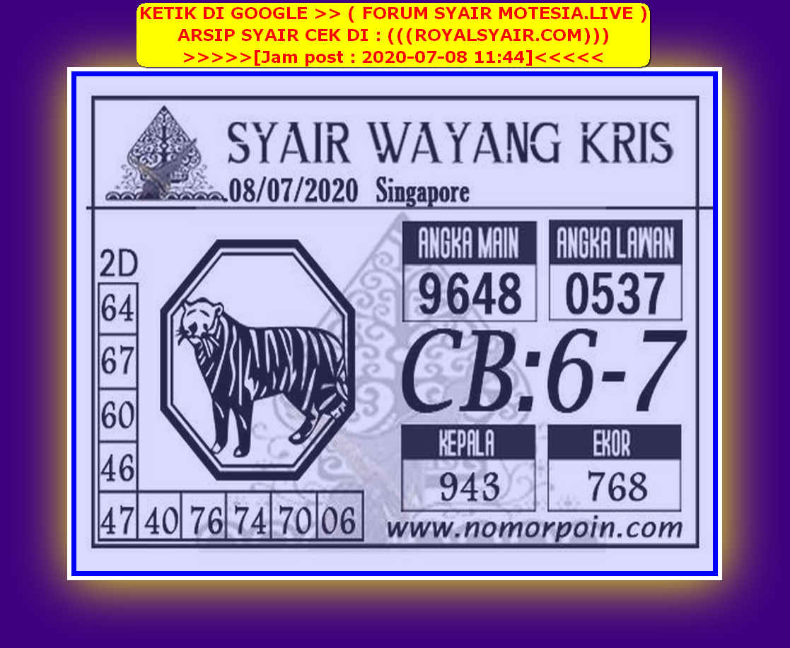 Kode syair Singapore Rabu 8 Juli 2020 77