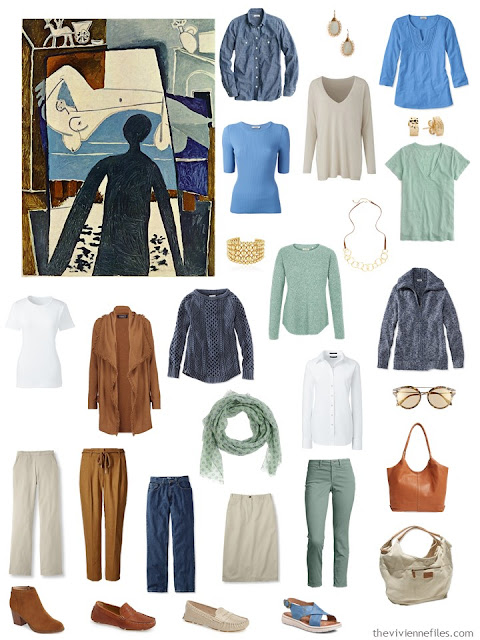 a 4 by 4 Wardrobe in denim, khaki, tobacco, soft green and white