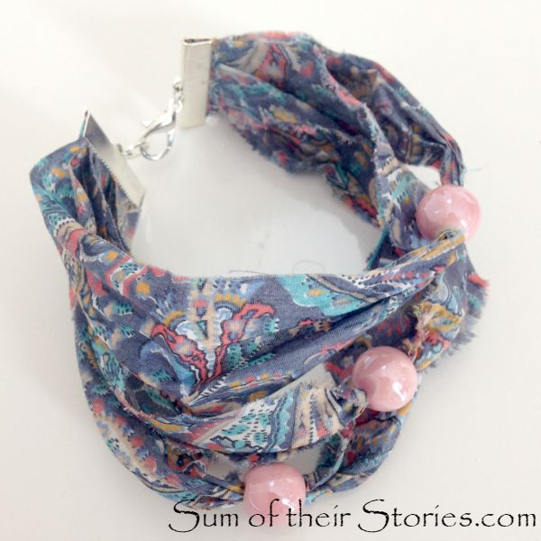 Liberty Fabric and bead Bracelet