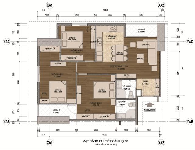 Thiết kế căn hộ 88m, 03 phòng ngủ tại Samsora Premier