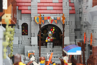 Woodstock Castle Lego MOC Great Hall with Shields & Burning Torches