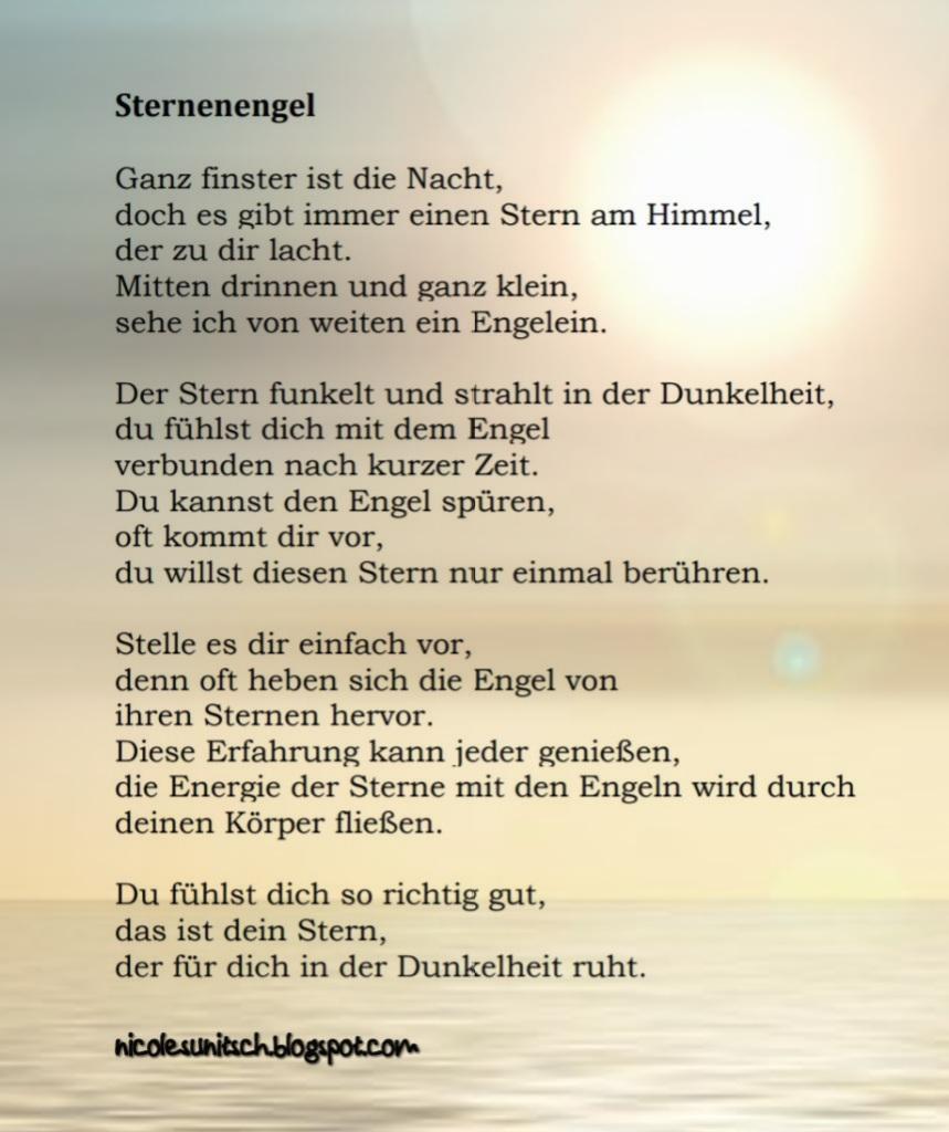Gedichte Von Nicole Sunitsch Autorin Sternenengel Aus Dem Buch