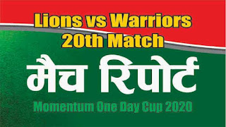 Who will win Today 20th match Lions vs Warriors South Africa Domestic 2020