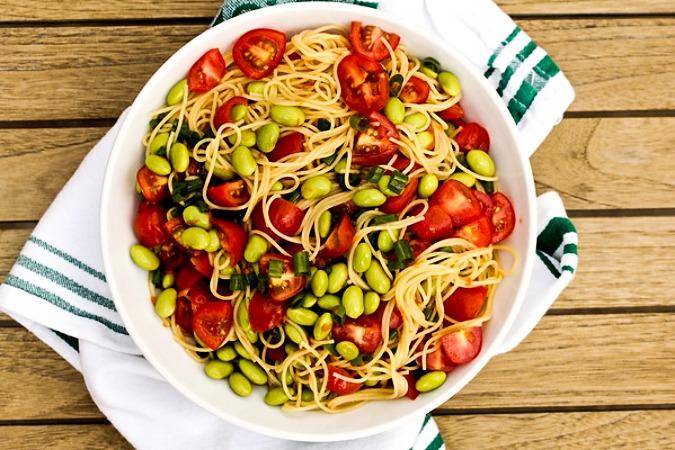 Edamame noodle salad in a bowl