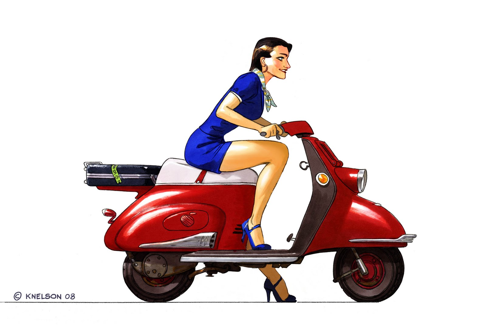 11 Gorgeous Tangled Gifs: The Art Of Kevin Nelson: Scooter Pinup Girl