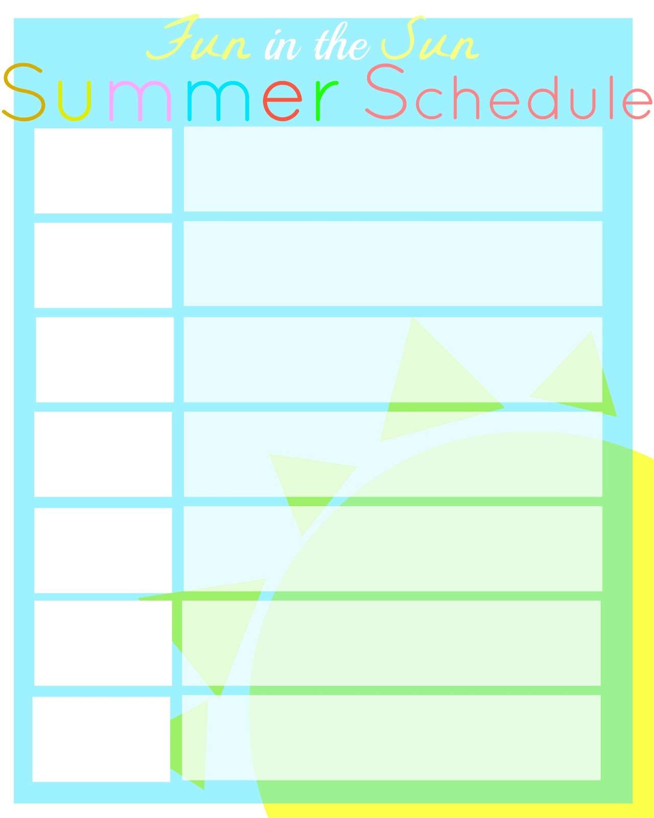 Summer Kids Schedule Printable