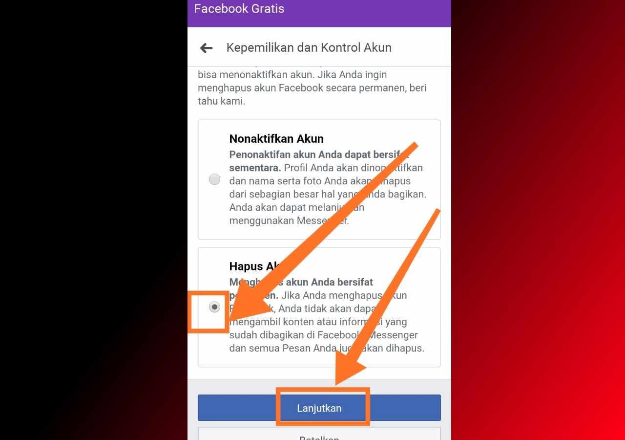 Cara tutup akun FB LITE