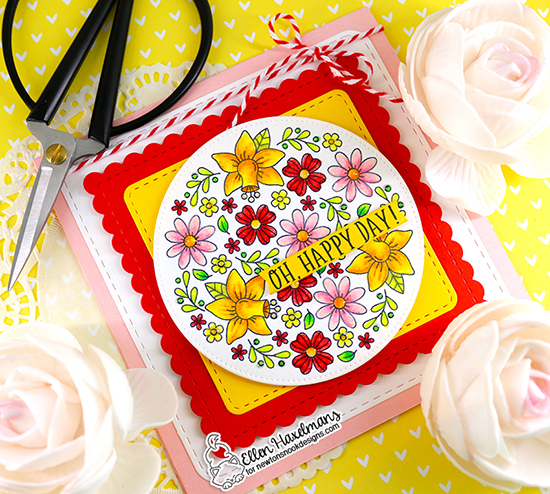 Oh, Happy Day! Card by Ellen Haxelmans | Floral Roundabout Stamp Set and Frames Square Die Set by Newton's Nook Designs  #newtonsnook #handmade
