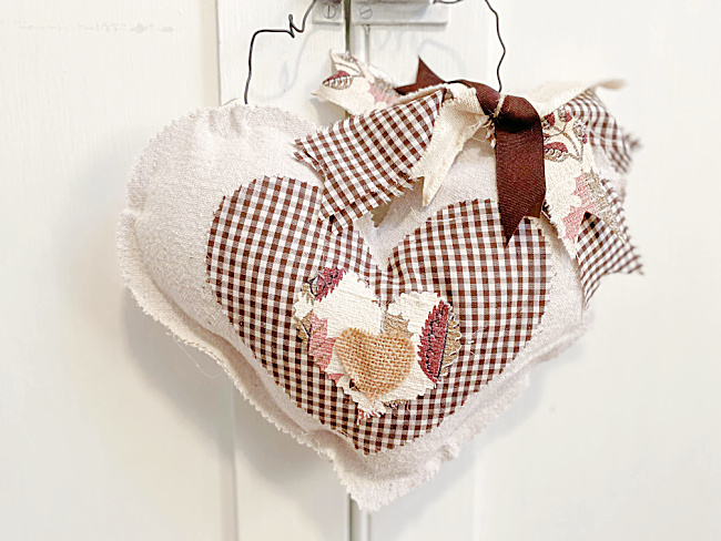 stuffed drop cloth heart with layers of brown