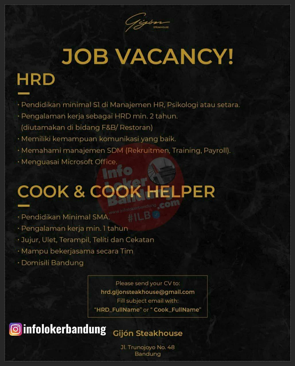 Lowongan Kerja Gijon Steakhouse Bandung Juni 2021
