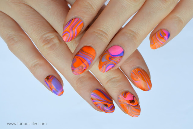 summer neon water marble nail art meebox
