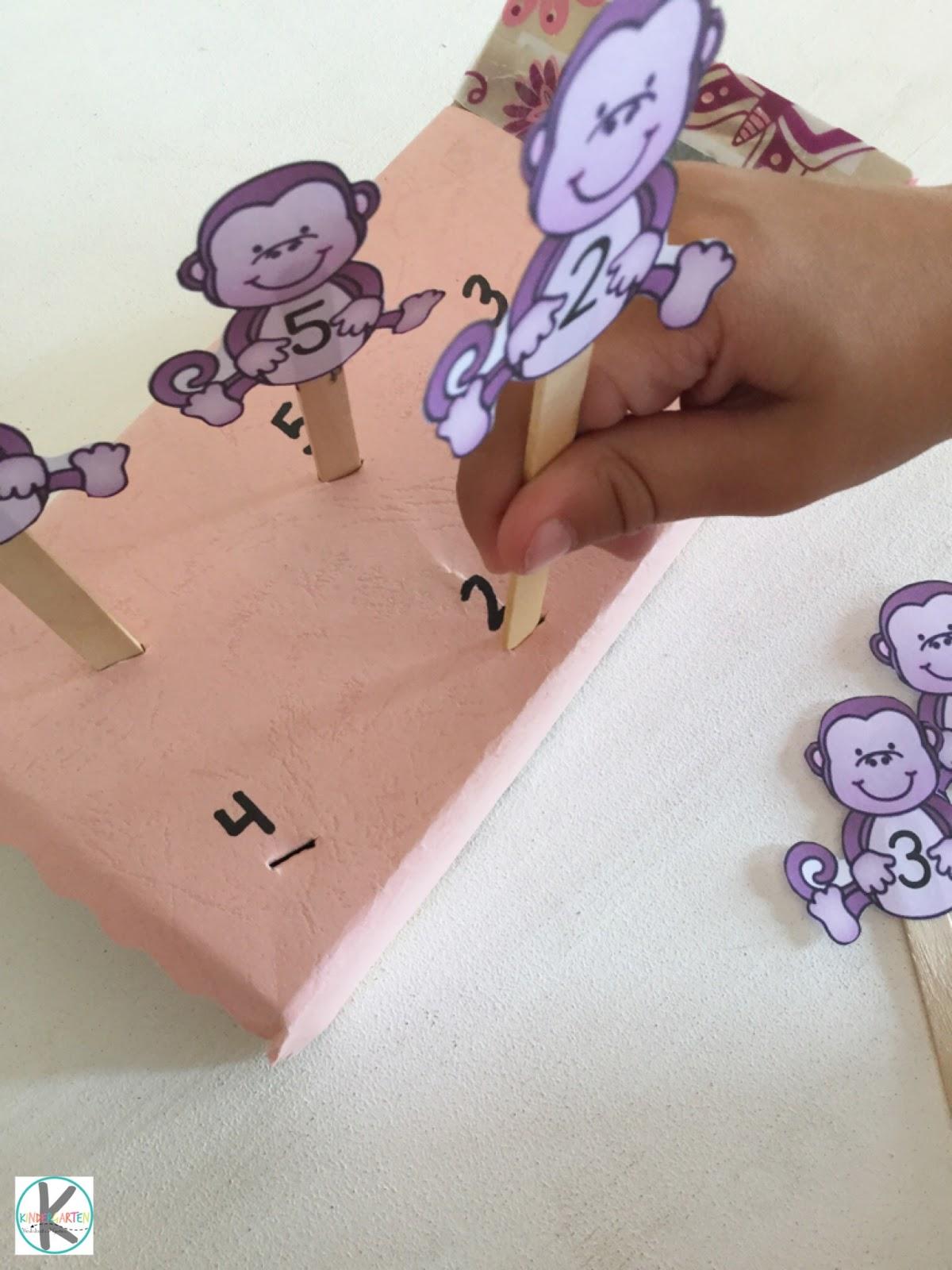 Kindergarten Worksheets And Games 5 Little Monkeys Activity