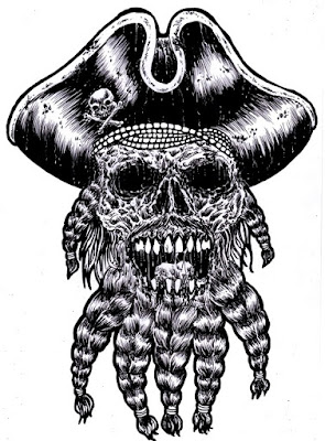 Pirate Skull Ink Drawing