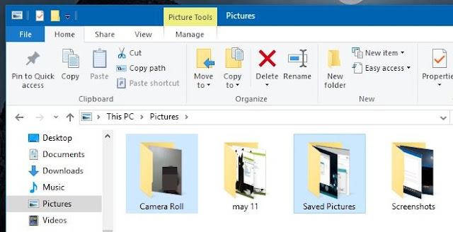 How to change or restore default location of Camera Roll folder in Windows 10