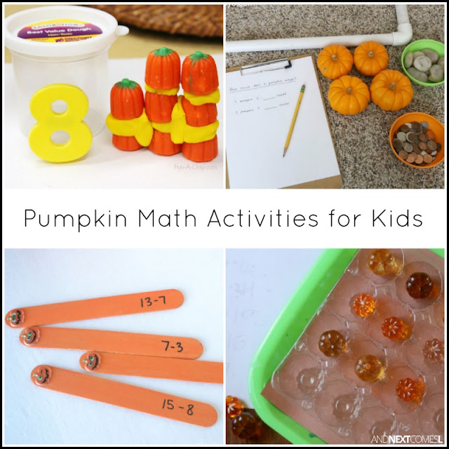 Pumpkin math activities for kids from And Next Comes L