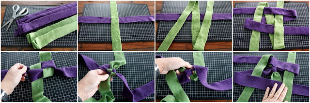Step-by-step instructions for a stick end fleece dog tug toy weaving from the middle