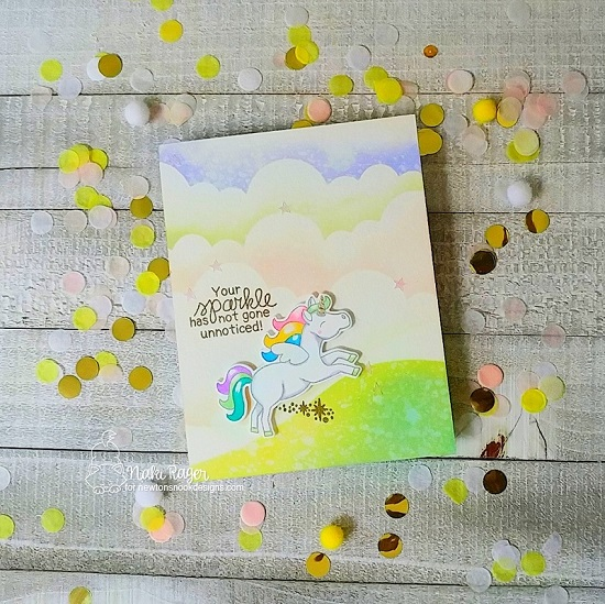 Unicorn Sparkle Card by Nakaba Rager | Believe in Unicorns Stamp Set, Hills & Grass Stencil and Clouds Stencil by Newton's Nook Designs #newtonsnook #handmade
