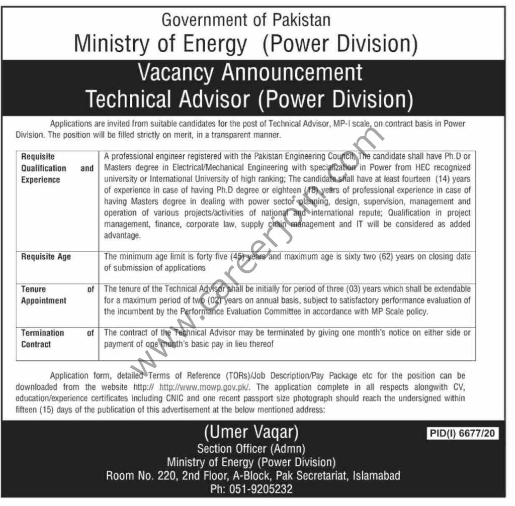 www.mowp.gov.pk Jobs 2021 - Ministry of Energy (Power Division) Jobs 2021 in Pakistan