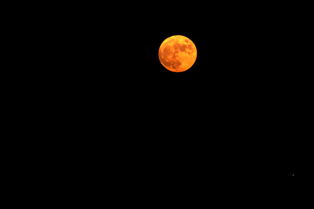 Just passed full moon, DSLR, 300mm, 1/30 second (Source: Palmia Observatory)