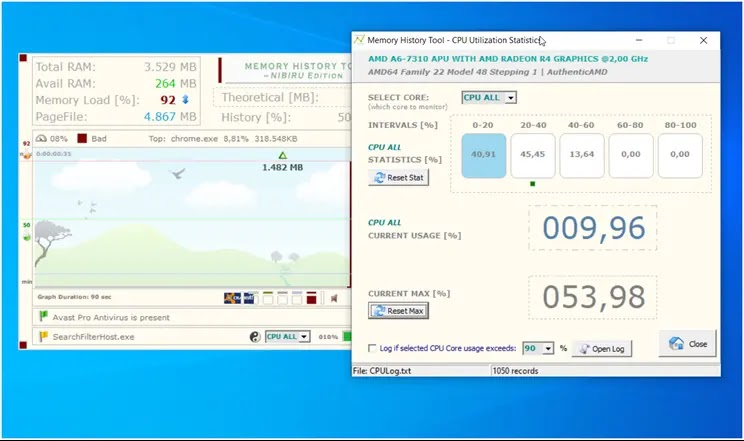 Memory History Tool :   Δείτε τη χρήση RAM, CPU και τις διαδικασίες που τρέχουν σε πραγματικό χρόνο
