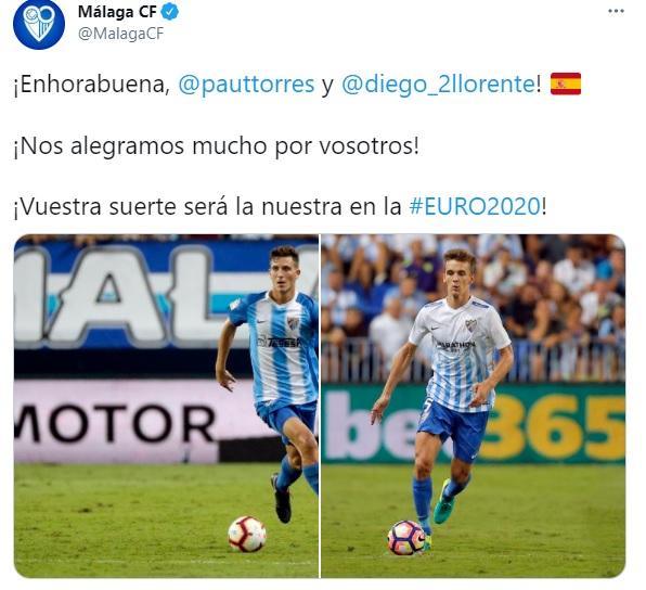 El Málaga felicita a Pau Torres y Diego Llorente por ir convocados con España para la Euro 2021