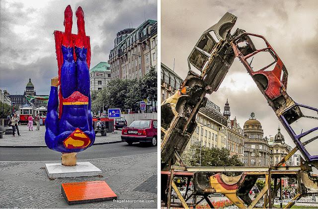 Arte contemporânea na Praça Venceslau, em Praga