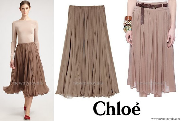 Crown Princess Mette Marit wore Chloe Mouseline Pleated Skirt
