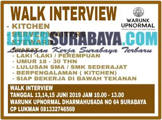 Walk In Interview di Warunk Upnormal Surabaya Terbaru Juni 2019