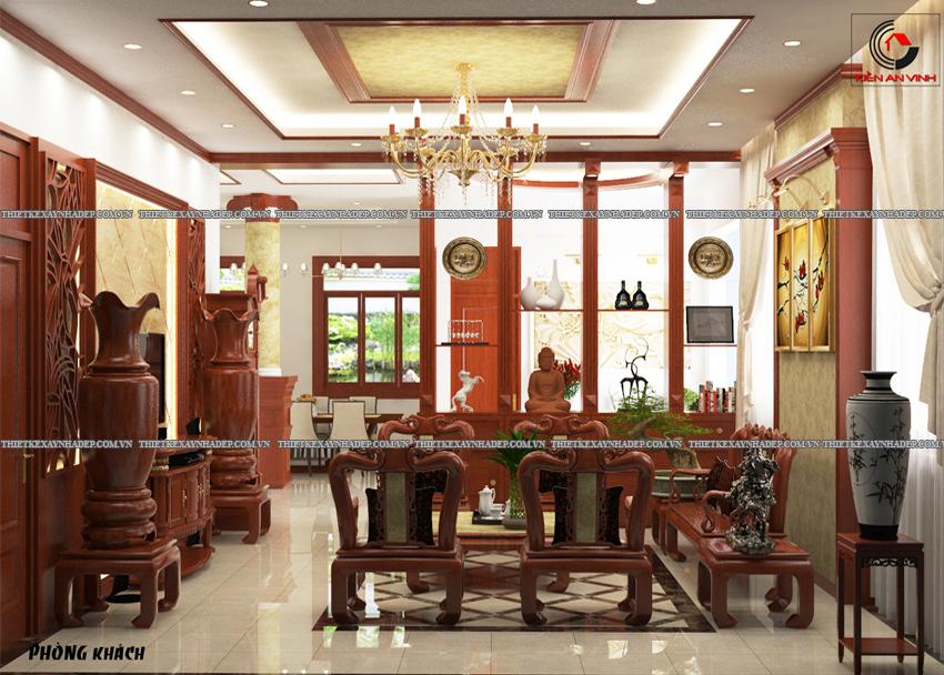 Mẫu thiết kế biệt thự nhà vườn 1 tầng đẹp hiện đại dt 150m2 Phong-khach-1