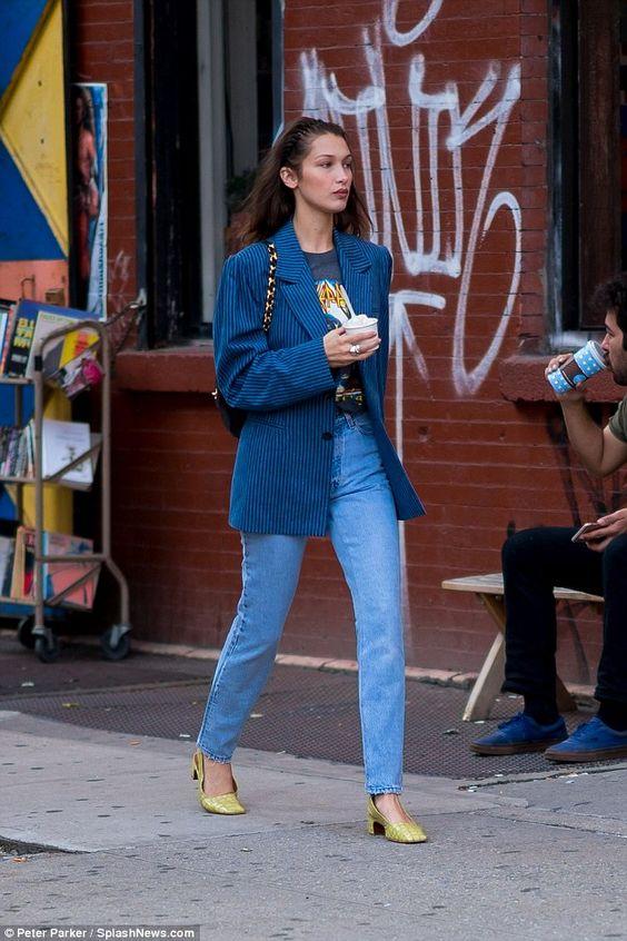 Bella Hadid Graphic T Shirt Blue Stripe Blazer Vintage High Waist Jeans