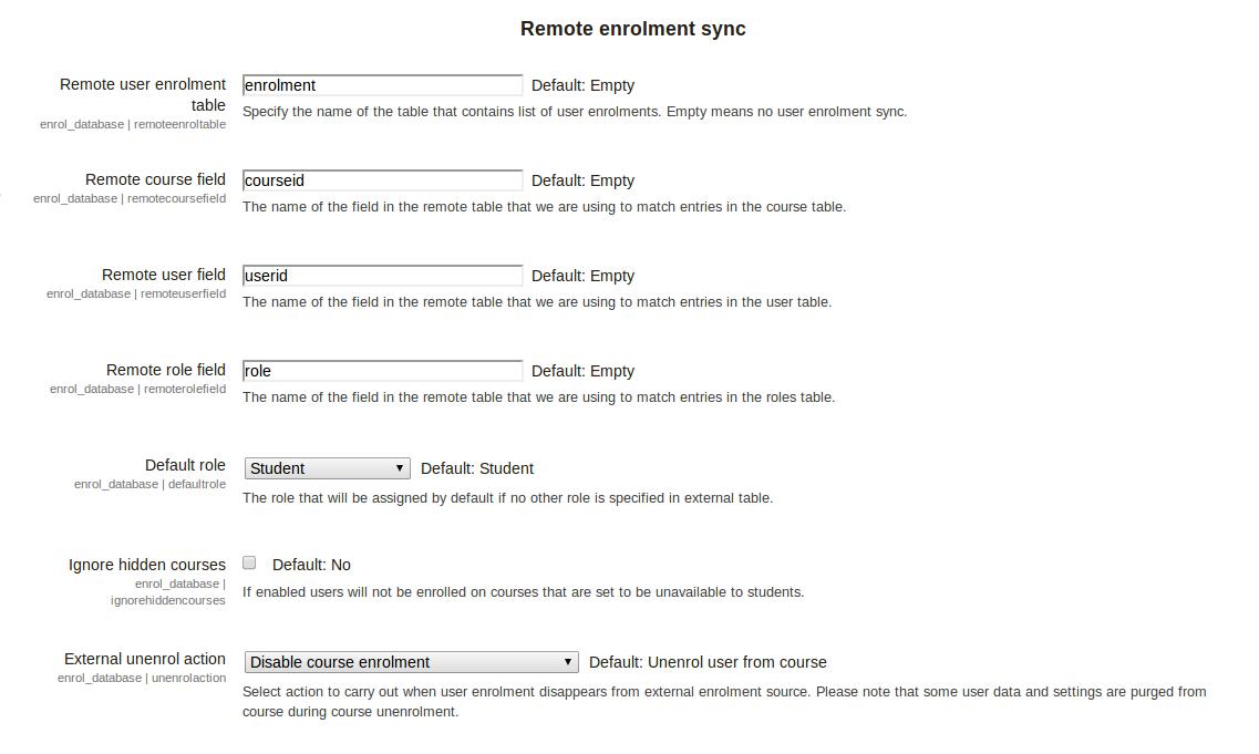 Moodle - Using external database for courses enrolment