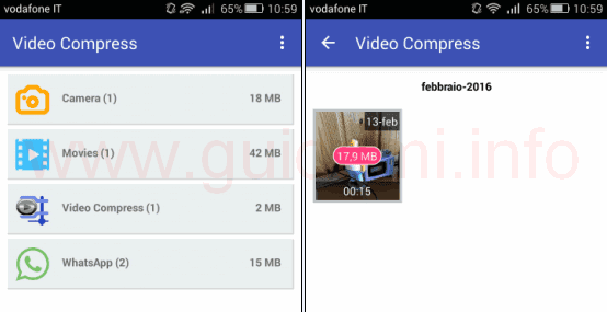 App Video Compress per Android seleziona video