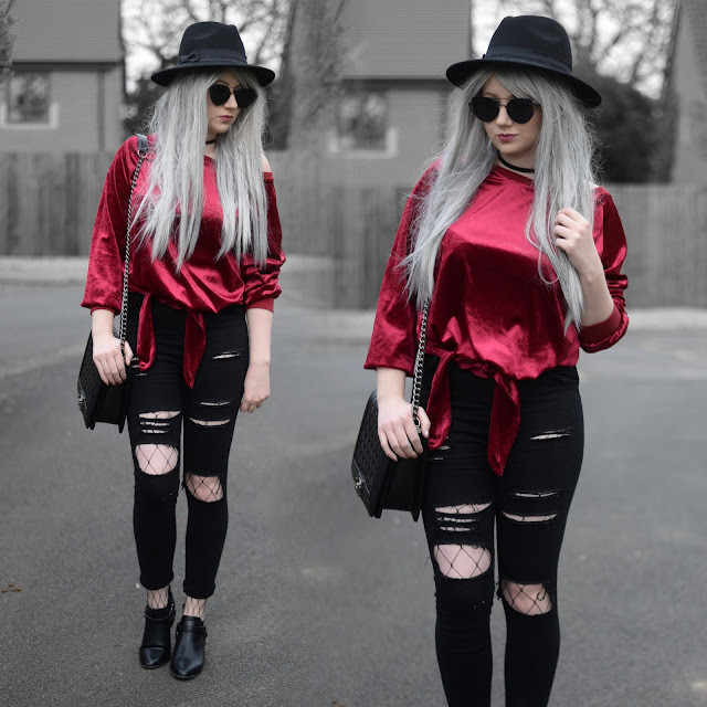 Sammi Jackson - Primark Fedora, Tosave Red Velvet Tie Up Top, Choies Black Ripped Jeans, Choies Fishnet Tights, Wholesale 7 Buckled Boots