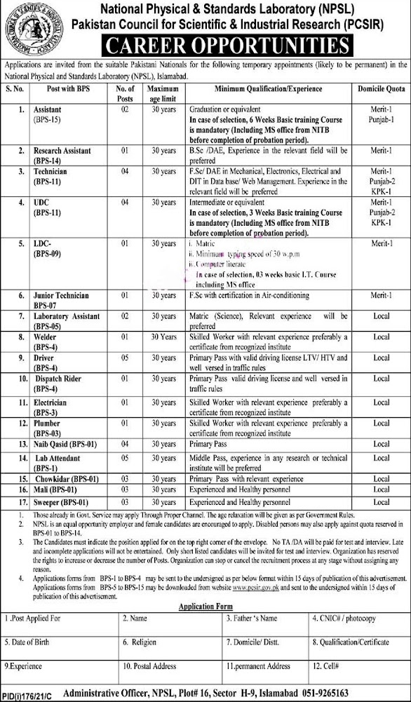 Latest Jobs in Pakistan Council of Scientific and industrial Research  PCSIR 2021