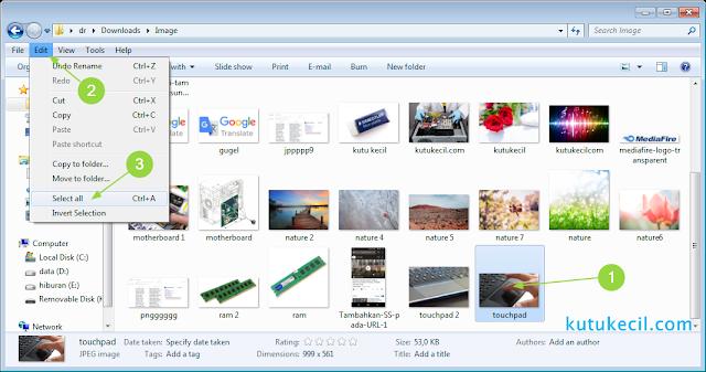 cara menandai semua file di laptop