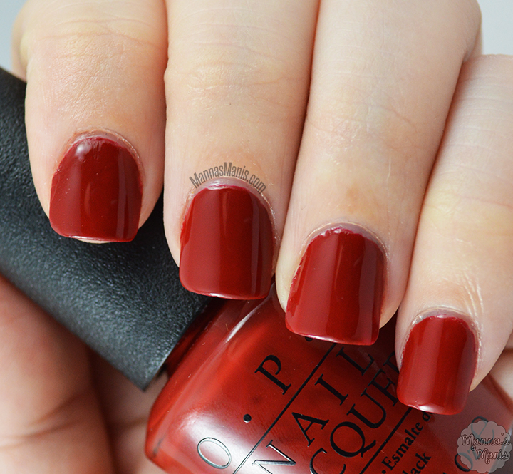 OPI romantically involved, a red creme nail polish from the 50 shades of grey collection