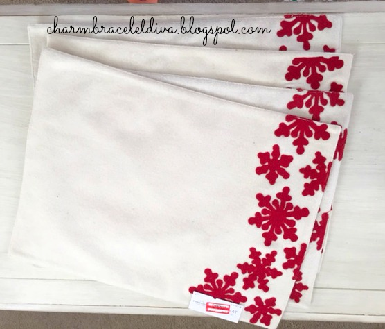 Target clearance white felt placemat red snowflakes