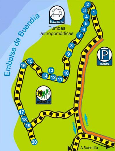 mapa ruta de las caras de Buendía Cuenca