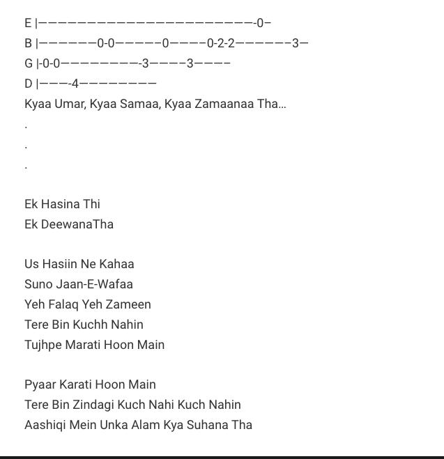 Ek Haseena Thi Ek Deewana Tha Guitar Tab/ Karzzzz / Guitar Tabs / Lead Notes / Hindi Songs Tabs / Himesh Reshammiya ,Shreya Ghoshal / Bollywood / Ek Haseena Thi Ek Deewana Tha - Karzzzz Movie / Gaane