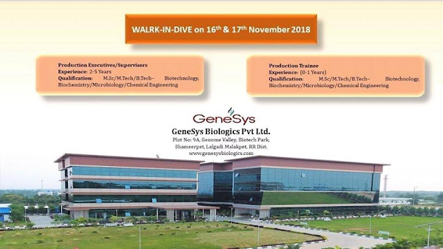 GENESYS BIOLOGICS PVT.LTD Walk In Drive For Multiple Positions at 16 & 17 November