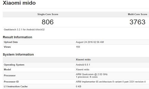Xiaomi Mido specs GFXBench