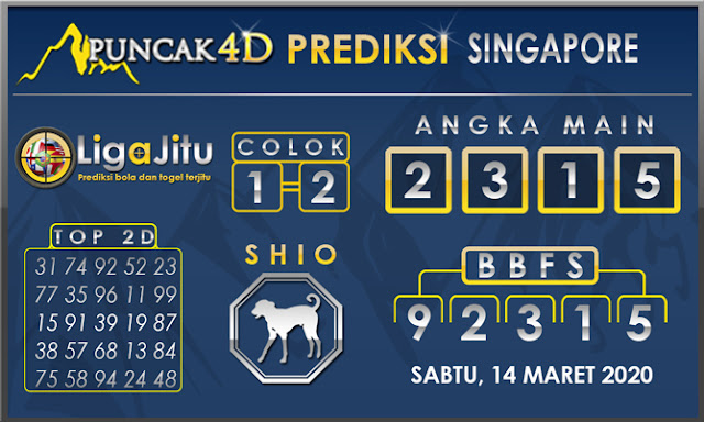 PREDIKSI TOGEL SINGAPORE PUNCAK4D 14 MARET 2020