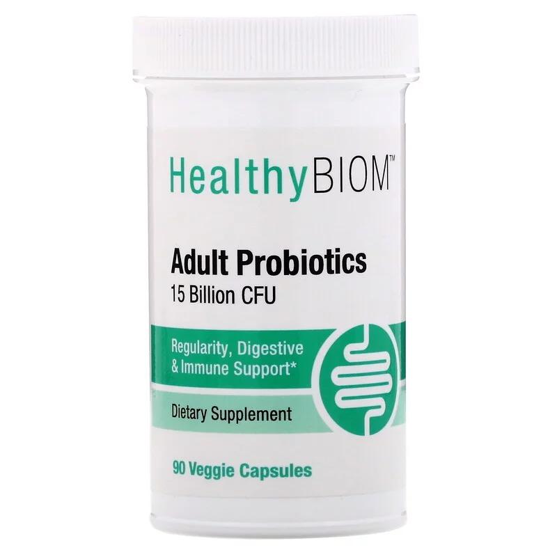 HealthyBiom, Пробиотики для взрослых, 15 млрд КОЕ, 90 растительных капсул