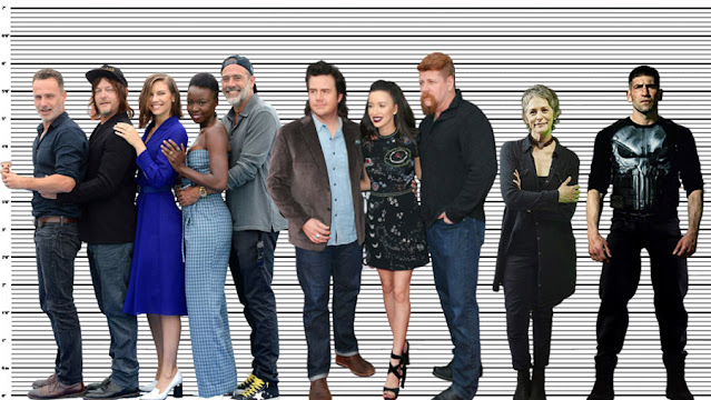 "Andrew Lincoln (5'10"") with Norman Reedus (5'9.5""), Lauren Cohan (5'7""), Danai Gurira (5'6""), Jeffrey Dean Morgan (6'1""), Josh McDermitt (6""), Christian Serratos (5'5""), Michael Cudlitz (6'1""), Melissa McBride (5'6"") and Josh Bernthal (5'11"")"
