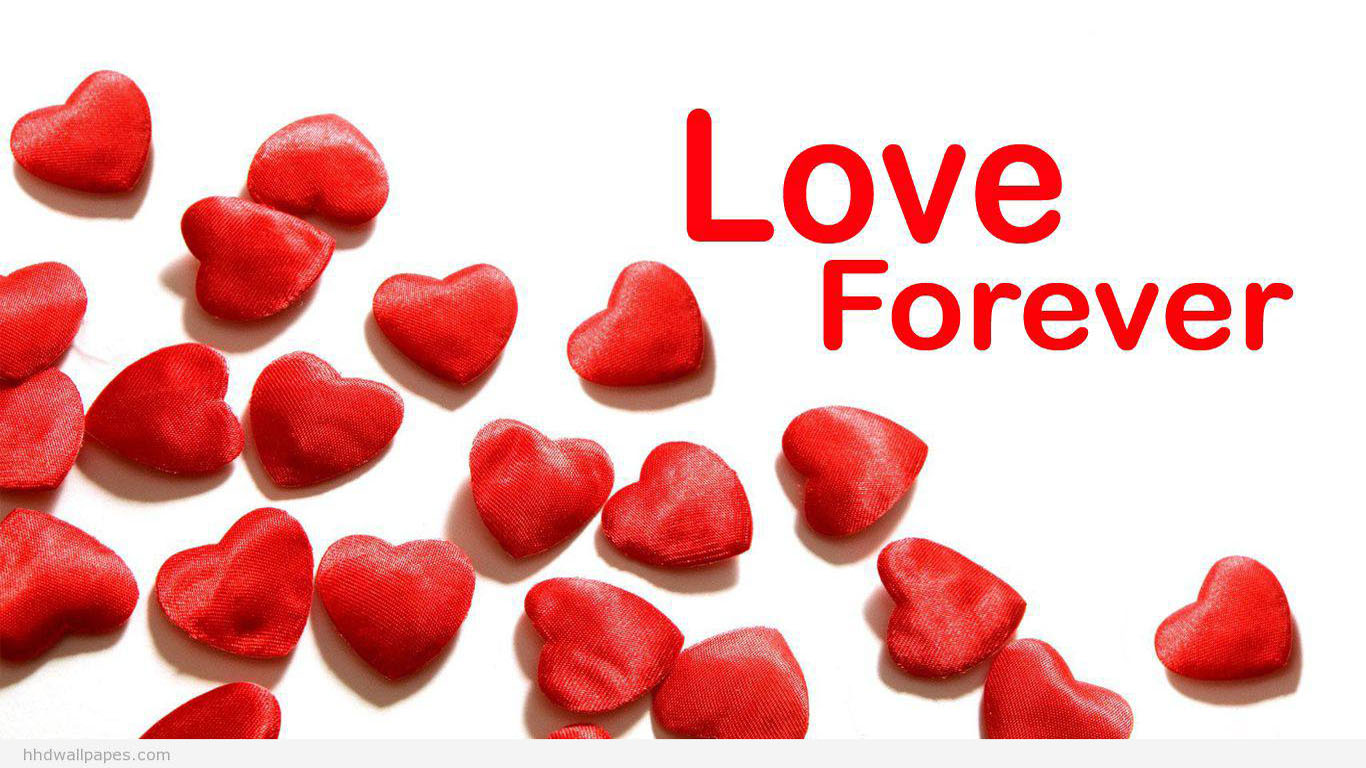 Love Forever With Red Hearts HD Wallpaper