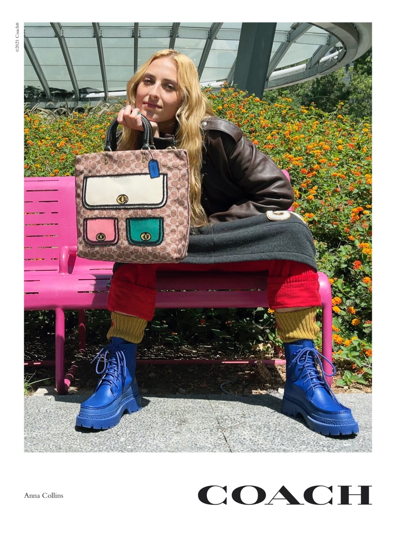 Anna Collins poses for Coach Rogue Bag campaign